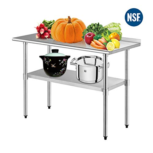 SUNCOO Commercial NSF Stainless Steel Work Table Food Grade Kitchen Prep Workbench Metal Restaurant Countertop Workstation with Adjustable Undershelf 48 in Long x 24 in Deep - Backsplash Table
