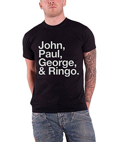 The Beatles Men's John Paul George And Ringo Short Sleeve T-shirt, Black, Medium