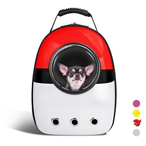 AntTech Breathable Pet Travel Poke Ball Backpack Space Capsule Carrier Bag Hiking Bubble Backpack for Cat & Dog Puppy-Red&White