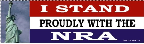 DOMAGRON I Stand Proudly with The NRA Bumper Sticker- 2A Rights Bumper Sticker