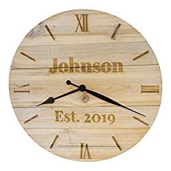Bjerg Instruments Personalized Wood Clock Custom Laser Engraved 14 Diameter