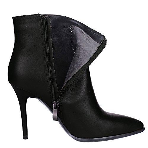 Toe Daily Wear Ankle Thin Zipper Heels Boots Leather Women's VOCOSI Pointy Black Booties Fcvq0zTT