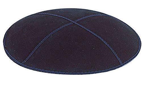 (Navy Blue Suede Leather Four Panel Kippah Yarmulkah Yarmulke)