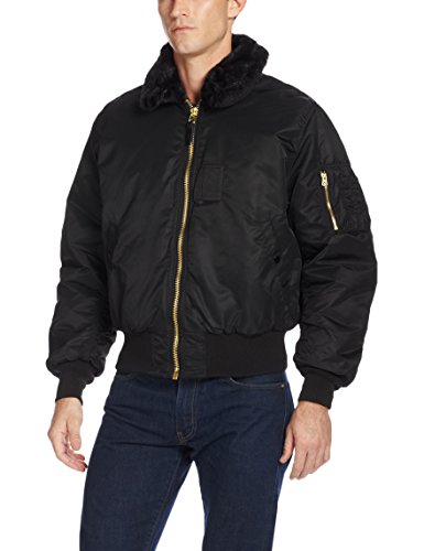 Alpha Industries Men's B-15 Nylon Flight Jacket, Black, X-Large