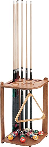 Viper-Hardwood-Corner-Floor-BilliardPool-Cue-Rack-Holds-10-Cues-Oak-Finish