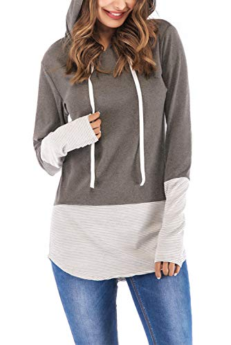 Stripe Tees Tops Hoodie (FAVALIVE Womens Long Sleeve T-Shirt Tunic Tops Stripe Casual Hoodies Gray XL)