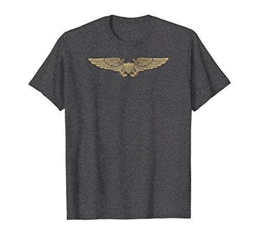 Mens Naval Flight Officer NFO Wings T-Shirt Aviator Veteran Tee XL Dark Heather -