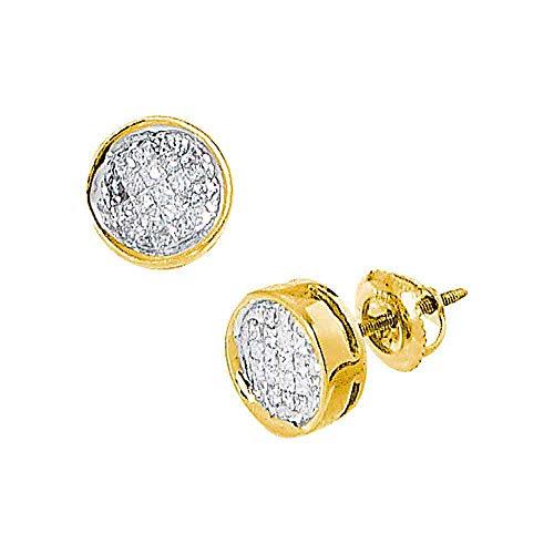 (Diamond Circle Screwback Stud Earrings 1/2ct 14k Yellow Gold)