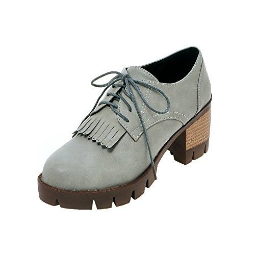 Rond Légeres Agoolar Femme Houppe Lacet Chaussures Pu Cuir À Gris Talon Correct T5q54v