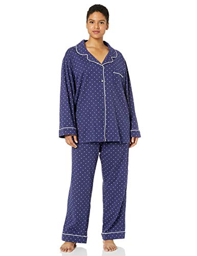 - PajamaGram Pajama Set for Women - Cotton Jersey Pajamas Women, Navy, 3X, 26W-28W