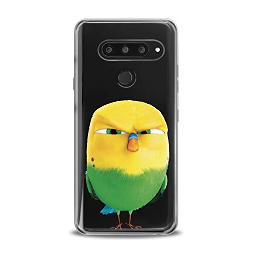 Lex Altern TPU Case for LG G8 Stylo 5 K11 G7 ThinQ G6 V40 V35 V50 K8 Crazy Bird Design Green Flexible Bright Soft Slim Fit Print Clear Smooth Yellow Gift Lightweight Cover Moody Character Birdies