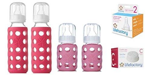 Glass Baby Bottles for Newborn Girl - Pink Starter Kit