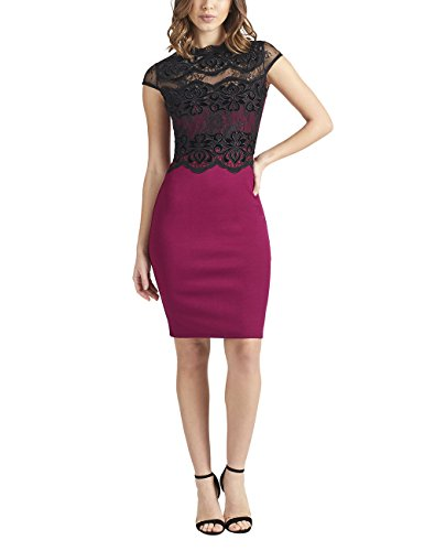 Lipsy Womens Velvet Trim Bodycon Dress Pink US 6 (UK 10)