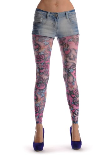 Pink Skulls Roses Footless Multicoloured product image