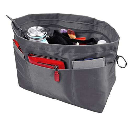 Vercord Handbag Purse Tote Pocketbook Organizer Insert Zipper Closure 11 Pockets Grey Medium]()