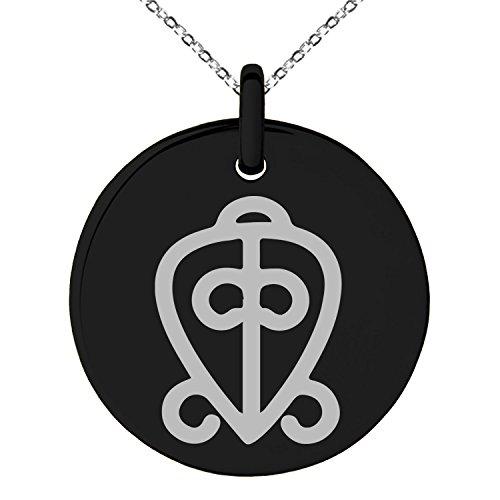 Black Stainless Steel Aztec Power of Love Rune Symbol Engraved Small Medallion Circle Charm Pendant Necklace (Power Black Medallion)