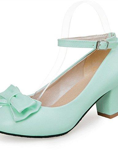 GGX/ Frauen Fersen Hochzeit / Kleid / beiläufige klobige Ferse bowknotblack / blaue Schuhe Leder Frühjahr / Sommer / Herbst Fersen / blue-us9 / eu40 / uk7 / cn41