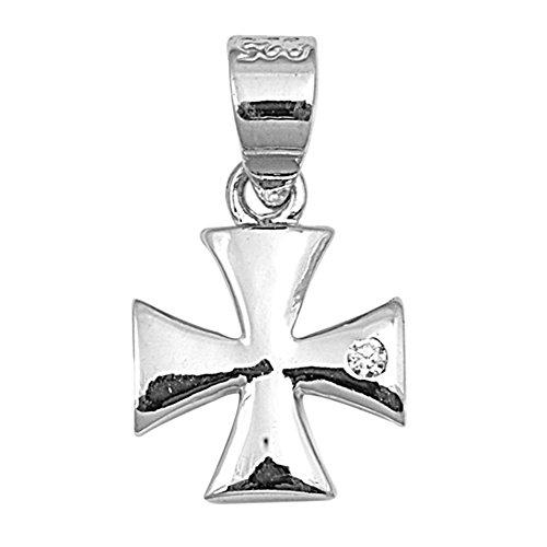 Iron Cross Charm - High Polish Iron Cross Pendant Clear Simulated CZ .925 Sterling Silver Charm