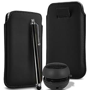 N4U Online - HTC One X Superior PU suave tirón del cuero del tirón Tab estuche de transporte, Stylus y Mini altavoz recargable - Negro