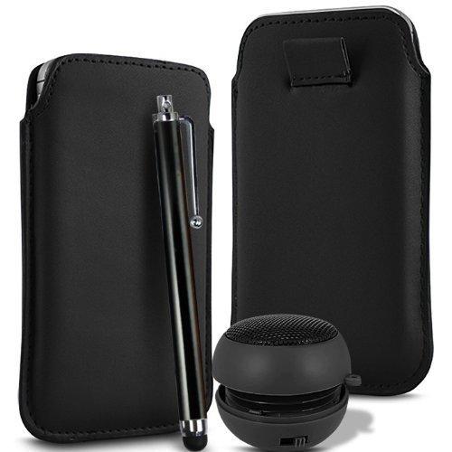N4U Online - Apple Iphone 4S supérieure PU cuir souple Tirez cas de secousse Tab Housse Etui stylet et mini haut-parleur rechargeable - Noir