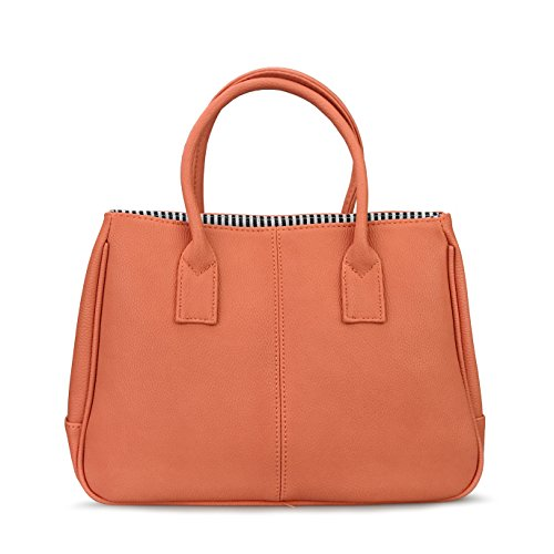 Handbag Magnet (Hoxis Classical Office Lady Minimalist Pebbled Faux Leather Handbag Tote/ Magnetic Snap Purse(Orange))