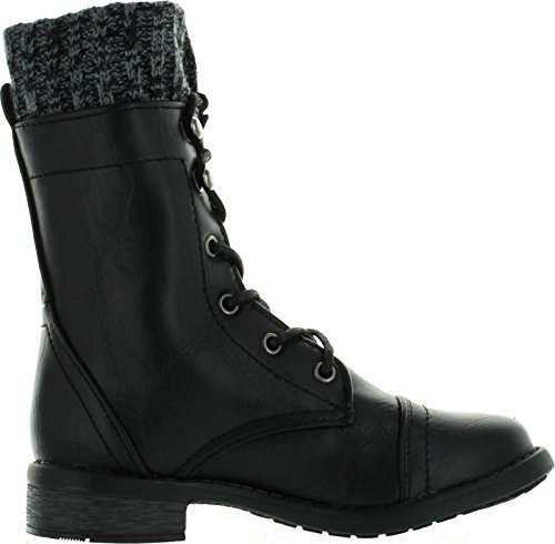 JJF Shoes Link Girls Justina58k Kids Leatherette Sweater Cuff Lace Up Zip Decor Mid Calf Ankle Combat Boots