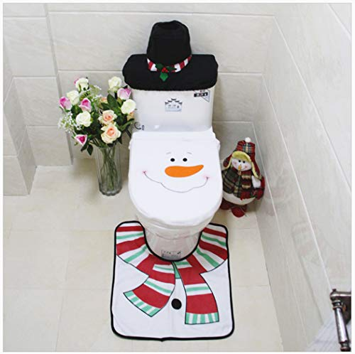 Coxeer Christmas 3D Snowman Toilet Seat Cover Set and Rug, Black Paper Towel Set Red Christmas Decorations Bathroom Set of 3 (Snowman) ()