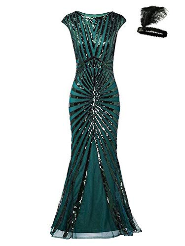 Formal Evening Dress 1920s Sequin Mermaid Formal Long Flapper Gown Party (Green, S)