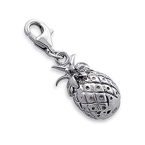 Pendant Charm Dangling (925 Solid Sterling Silver Clip-on Dangling Pineapple Charm Pendant)