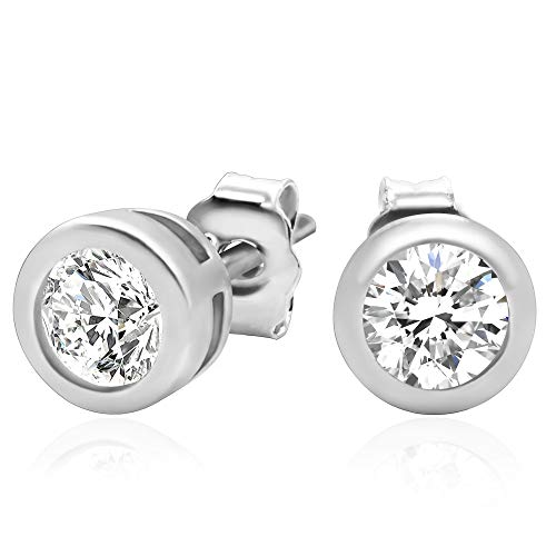 (925 Sterling Silver Bezel Set Cubic Zirconia Stud Earrings, 4mm stone)