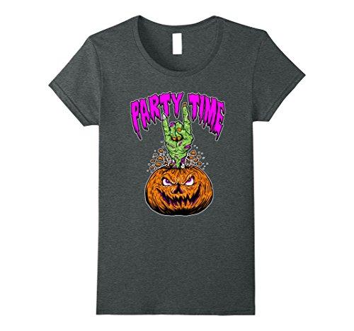 Womens Halloween Party Time Pumpkin Zombie Devil Horns T-Shirt XL Dark (Halloween Metal Party 2017)