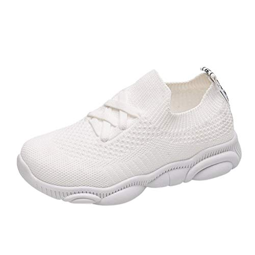 Haalife◕‿Baby lace up mesh Sneakers Comfy Memory Foam Knit Mesh Sock Shoes Fashion Breathable Rubber Sole White