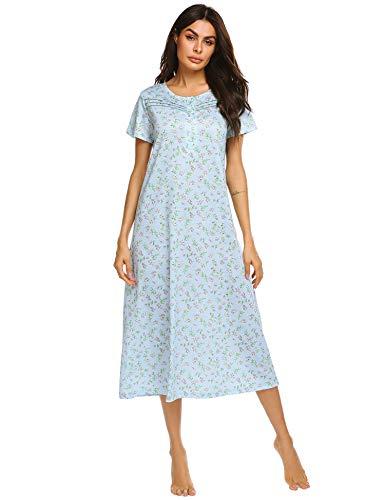 Ekouaer Women Sleepwear Cotton Short Sleeve Sleep Dress Floral Print Sleepshirt