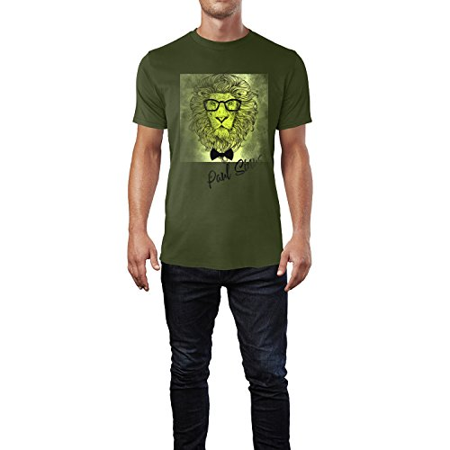 91c77319d6c66f SINUS ART ® Hipster Löwenkopf mit Brille und Fliege Herren T-Shirts in  Armee Grün ...