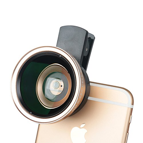 Leeko Professional HD Mobile Camera Lens Kit 0.45X Super Wide Angle Lens + 12.5X Macro Lens,2 in 1 Clip On Cell Phone Lens for iPhone 6s / 6 Plus / 5s, Samsung Galaxy and Most Smartphones (Gold) (No Type Yout compare prices)