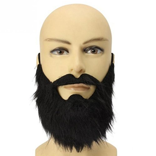 LUOEM Fake Beard Black Bearded Man Funny Mustache Costume Party Fake Mustaches Whisker Festival Supplies]()