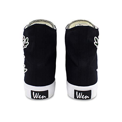 De De Otoño Mujer Botines Exing Blanco Zapatos Verano 40 Cerrado Botines Zapatillas La Negro Plano Lienzo De Tacón Comodidad B XAqAn5w0