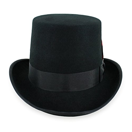 Belfry Topper 100% Wool Satin Lined Men's Top Hat in Black Available in 4 Sizes Large Black -