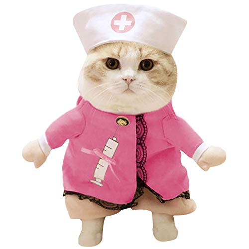 Yarssir Pet Doctor and Nurse Costumes Clothes Cosplay Dog and Cat Halloween Daily Suits(Nurse-L) ()