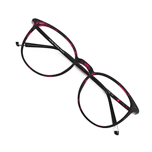 Reading Glasses Round Computer Readers for Women Men Eyeglasses Frames for Prescription Lens (Violet Tortoise, (Frame Violet Lenses)