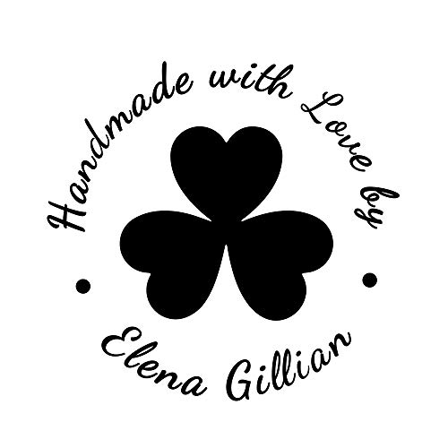 Irish Clover Love Heart Shape Personalized Name Handmade with Love by Stamp 2inch