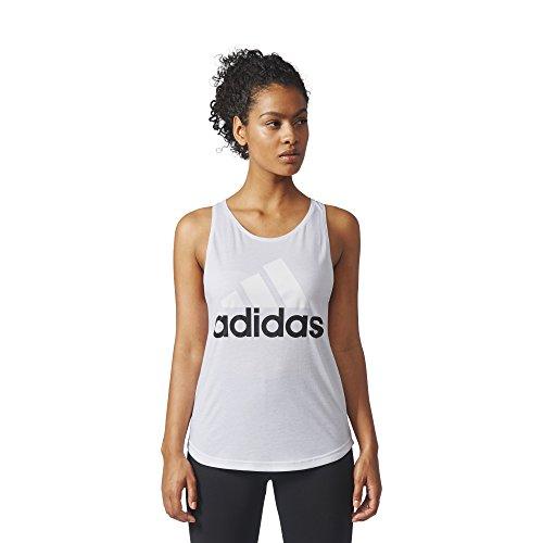 adidas Women's Athletics Essential Linear Logo Tank Top, White/Black, Large