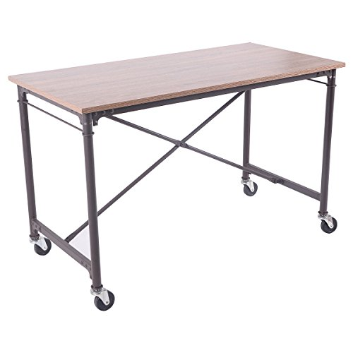 TANGKULA Computer Desk Laptop Writing Table Melamine Surface Wheels Home Office Furniture by TANGKULA