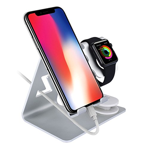 Zeiger 2 in 1 Cell Phone IWatch Charging Stand Tablet Aluminium Apple Charger Dock Station for Apple Watch Series1 2 3 (38mm 42mm), IPhone 7 8 X Plus, IPad (Up to 12.9 inch), Nintendo Switch (Silver)