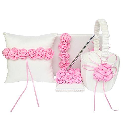 ARKSU 4pcs Wedding Sets Flower Girl Basket + Ring Bearer Pillow + Guest Book Pen + Pen Set Holder Decorated Satin Rose Rustic Bridal Wedding Shower Ceremony Anniversary-Pink