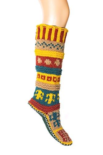 Green Wool Knit - Green Hand Knit Wool Long Tibetan Socks Small