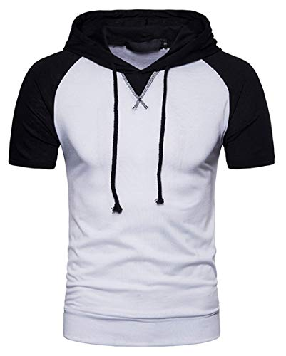 SHUIANGRAN Men's Casual Slim Fit Short Sleeve Lightweight Contrast Raglan Pullover Hoodie Sweatshirt White US XS
