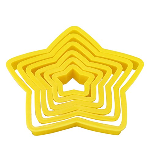 6pcs Star Shape Cake Cookie Cutter Baking Cheese Embossing (Halloween Marzipan Finger)