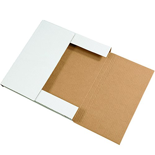 Boxes Fast BFM12121 Corrugated Cardboard Easy-Fold Mailers, 12 1/2 x 12 1/2 x 1 Inches, Fold Over Mailers, Adjustable Die-Cut Shipping Boxes, Multi-Depth, Large White Mailing Boxes (Pack of 50) by Boxes Fast