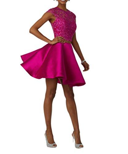 Tanzenkleider Abendkleider Satin Mini Promkleider Spitze Teilig Damen Cocktailkleider Charmant Abendkleider Pink Zwei vqzvfw0